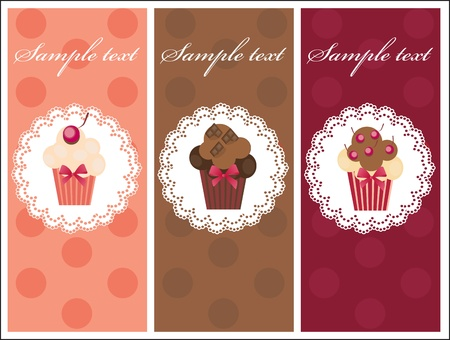 Beautiful card with sweet cupcakes. Dessert set banners design invitation background. Vector