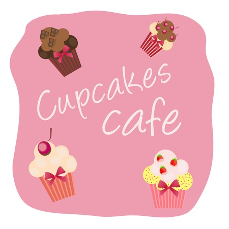The concept of cupcakes cafe menu. Vector illustration Vector