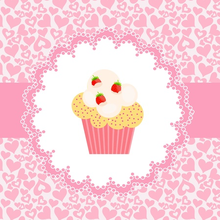 postcard box: Card with a cupcake. vector illustration