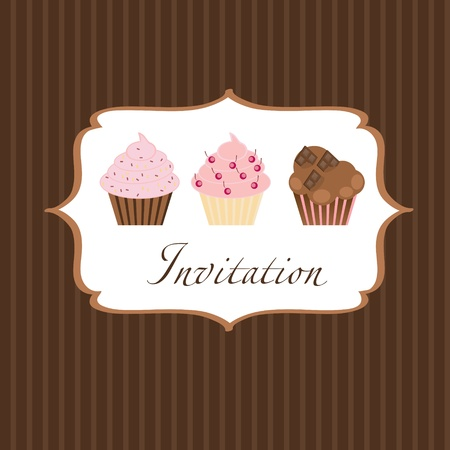 cupcake invitation background Stock Vector - 11368280