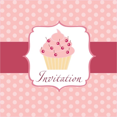 checkered label: cupcake invitation background Illustration