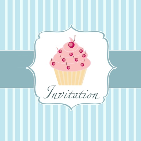 cupcake invitation background Stock Vector - 11368302