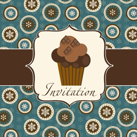 cupcake invitation background Stock Vector - 11368182