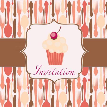 cupcake invitation background Vector