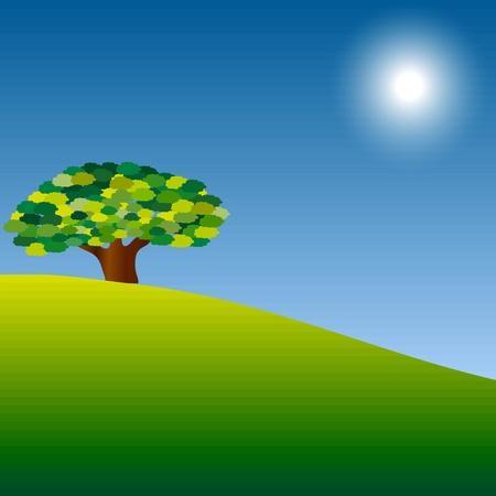 family grass: Hermoso �rbol verde Vectores