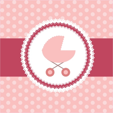 illustration of pink baby carriage for newborn girl Vector