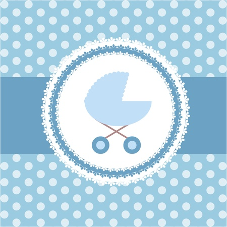 polka dot wallpaper: Cute BABY BOY greeting card Illustration