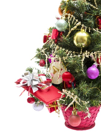 Christmas tree with decorations isolated on white background Stock Photo - 11596586