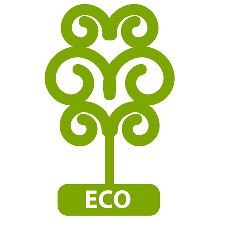 Eco Tree, Isolated On White Background Vector