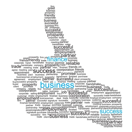 succesful: Illustration of the thumbs up symbol, which is composed of words on business themes illustration.