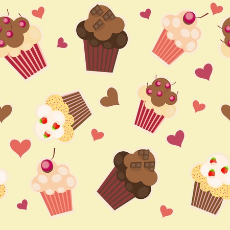 seamless cake pattern illustration Vector