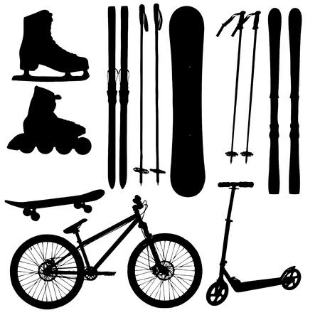 korcsolya: Sport berendezés sziluettje illusztráció Illusztráció