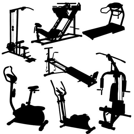 gym room: siluetas de entrenador de la ilustraci�n