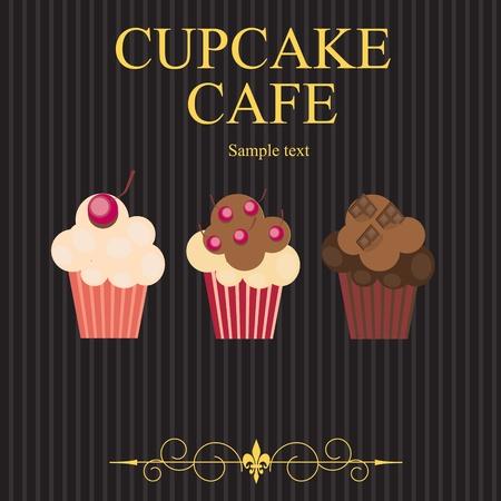 magdalenas: El concepto de men� del caf� de pastelitos. Ilustraci�n vectorial
