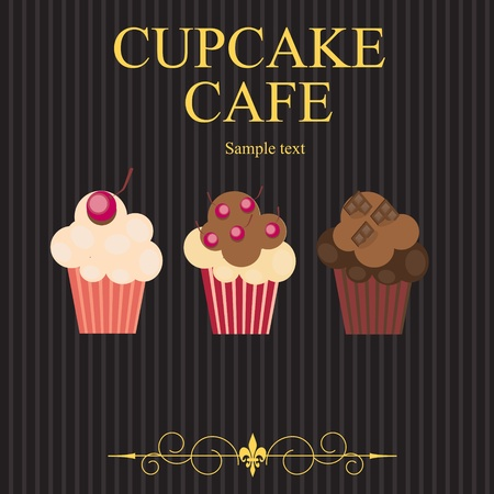 muffins: The concept of cupcakes cafe menu. Vector illustration