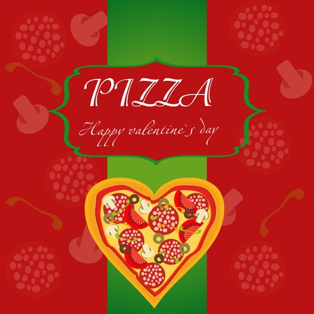 italian pizza: Pizza Menu Template on Valentine`s Day, vector illustration