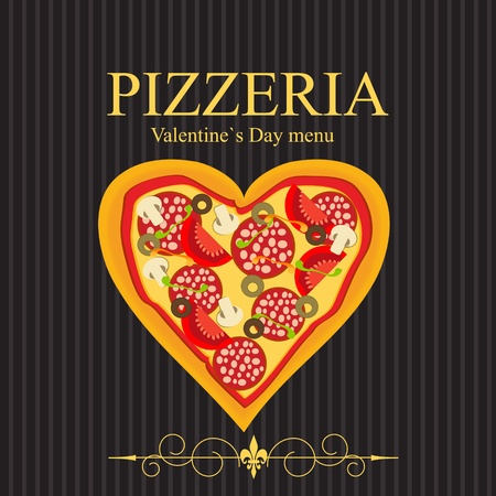 pizzeria: Pizza Menu Template on Valentine`s Day, vector illustration