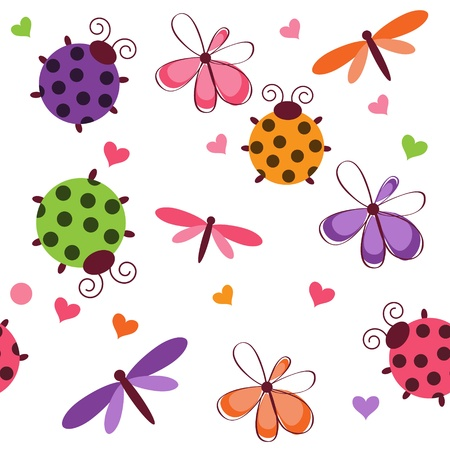 bugs: Romantic seamless pattern with dragonflies, ladybugs, hearts and flowers on a white background