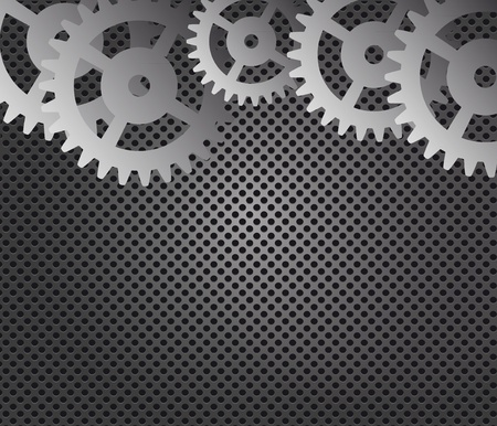 Metal background and gears vector illustration Vector