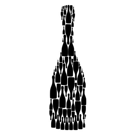 botella champagne: ilustraci�n con botellas en el fondo blanco