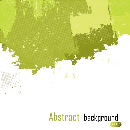Green abstract paint splashes illustration. Vector background with place for your text. Vector