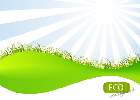 Spring green background. Grass and flower. Vector