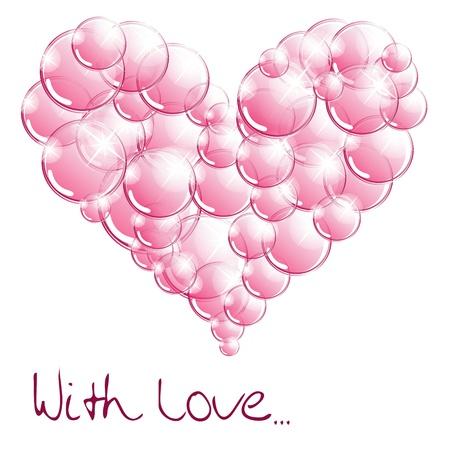 burbujas de jabon: Las burbujas de jab�n en forma de coraz�n Vectores