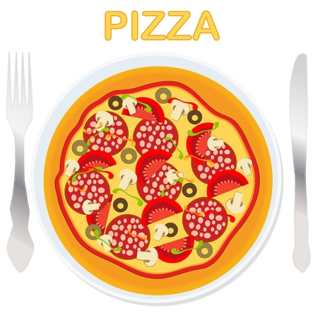 pizza dough: Vector pizza on a plate with fork and knife