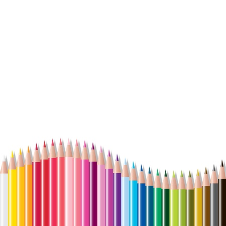 crayon drawing: vector set of colored pencils Illustration