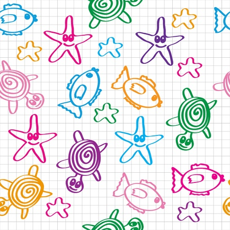 hand drawn seamless pattern with funny colored marine life Vector