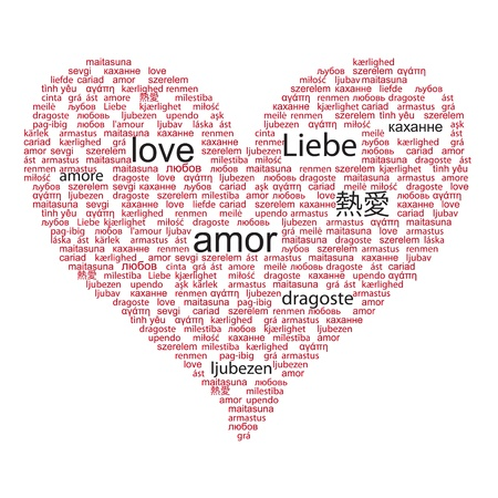 Love concept word in many languages of the world in red and black color Vector