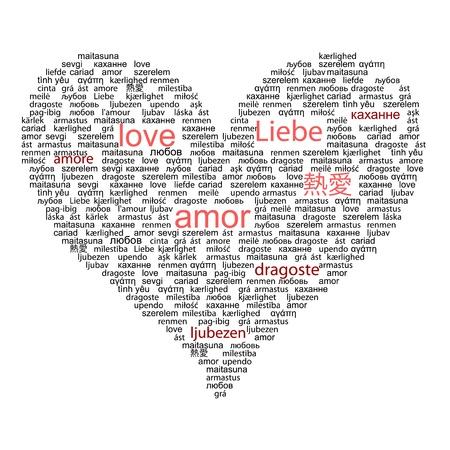 alegria: Amar la palabra de concepto en muchas lenguas del mundo en color rojo y negro