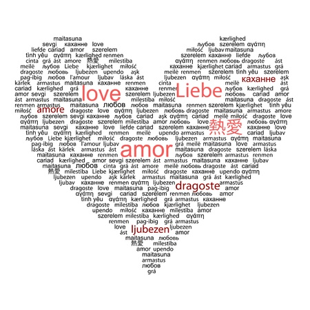 amor: Love concept word in many languages of the world in red and black color