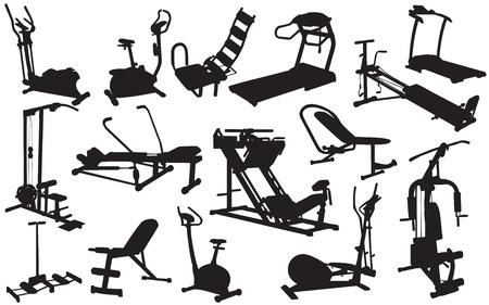gym room: siluetas entrenador de ilustraci�n vectorial Vectores