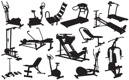 physical training: trainer silhouettes vector illustration