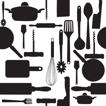 cooking utensils: Vector seamless pattern of kitchen tools.