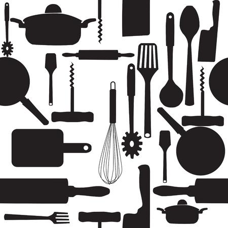 cuchillo de cocina: Vector sin patr�n de utensilios de cocina. Vectores