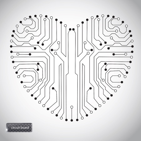 micro chip: Circuit board with in heart shape pattern Illustration
