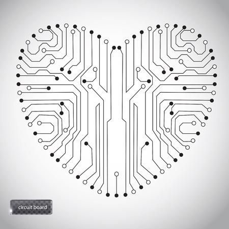 circuito electrico: Circuitos de la placa con forma de coraz�n en el patr�n