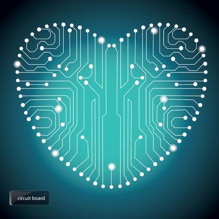 Circuitos de la placa con forma de corazón en el patrón