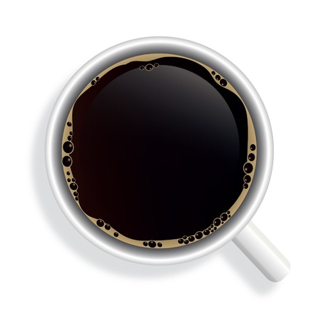 caffe: Top view of black coffee cup isolated on white background. Photo-realistic vector.