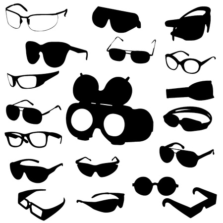 Glasses and sunglasses vector set Illustration