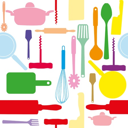 utensilios de cocina: Seamless vector patr�n de utensilios de cocina.