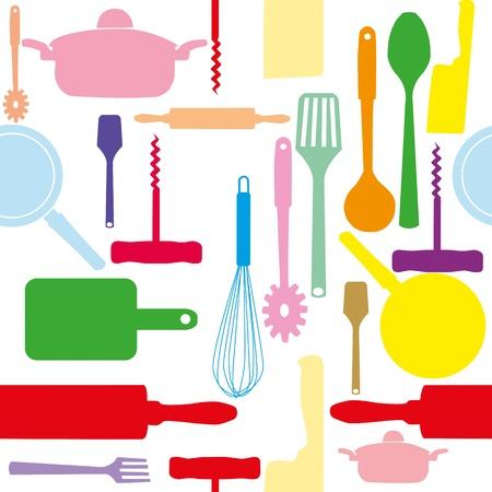 Vector naadloze patroon van keuken gereedschappen.