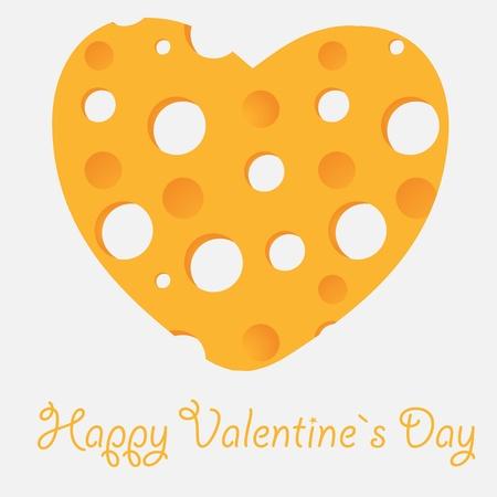chunk: Cheese heart vector illustration