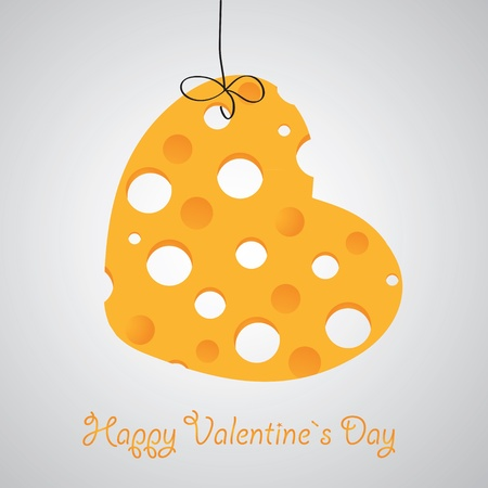 grated cheese: Cheese heart vector illustration