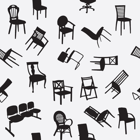 industrial decor: Big set of home chair silhouettes seamless pattern