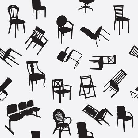 Grand ensemble de chaise à la maison silhouettes seamless pattern