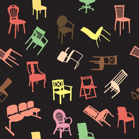 Big set of home chair silhouettes seamless pattern Stock Vector - 12303126