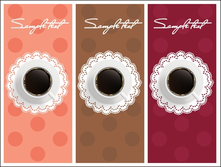 Beautiful card with sweet coffee  Dessert set banners design invitation background. Vector